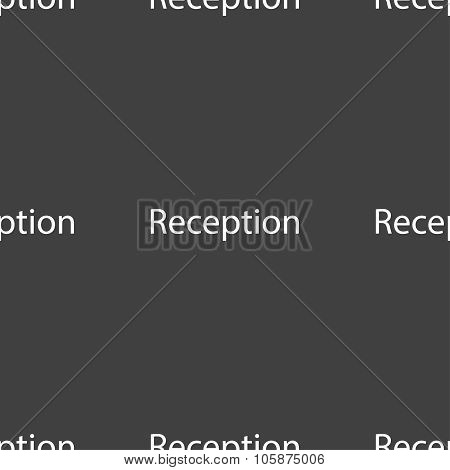 Reception sign icon. Hotel registration table symbol. Seamless pattern on a gray background. Vector