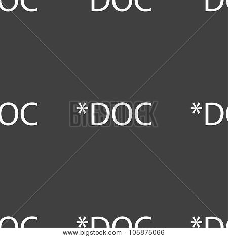 File document icon. Download doc button. Doc file extension symbol. Seamless pattern on a gray backg