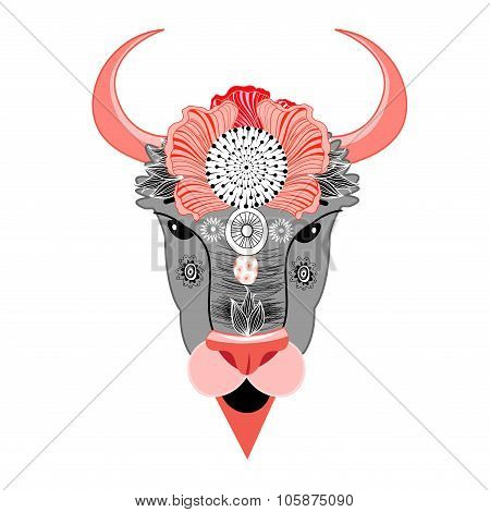 Bison With Ornament