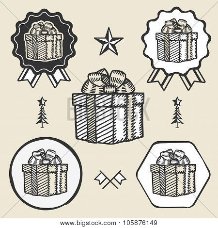 Gift box ribbon bow symbol emblem label collection