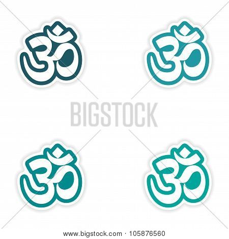 Set of stickers Indian om sign on white background