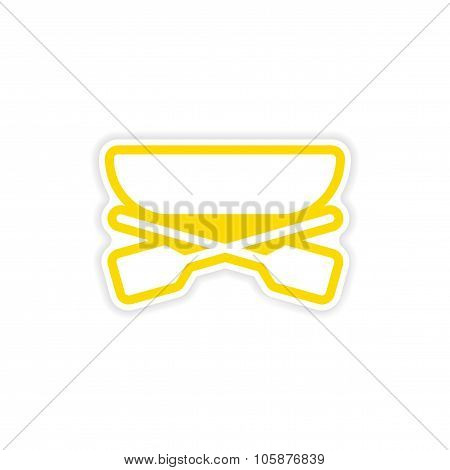 paper sticker boat and oars on white background