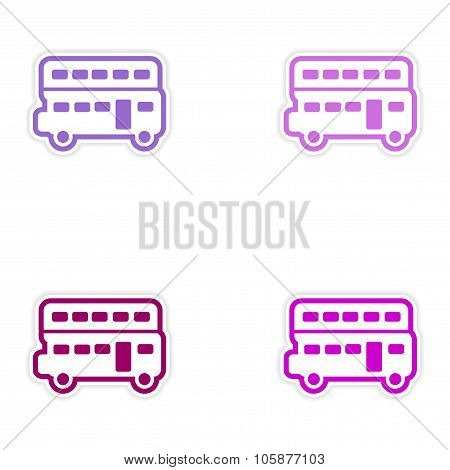 Set of stickers British double-decker bus on white background