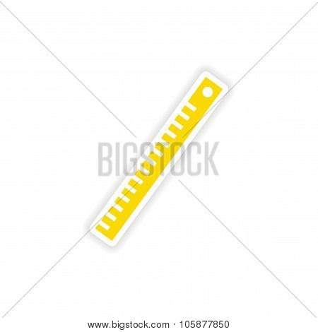 icon sticker realistic design on paper ruler