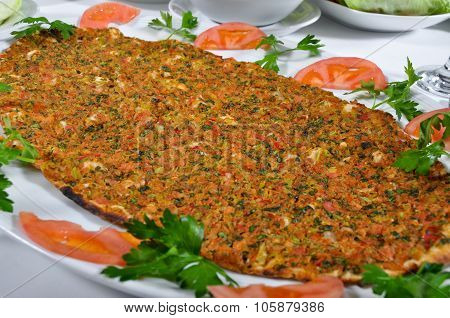 Turkish lahmacun kebab