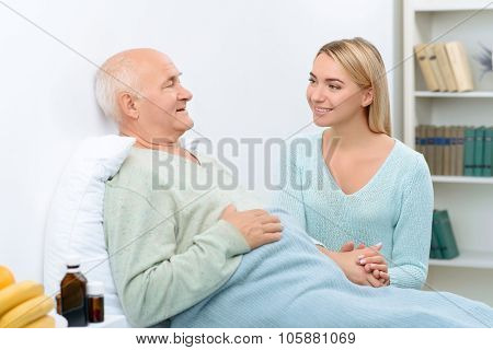 Nice pleasant conversation of two relatives at hospital.