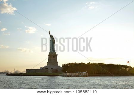 Side view of Statue of Liberty