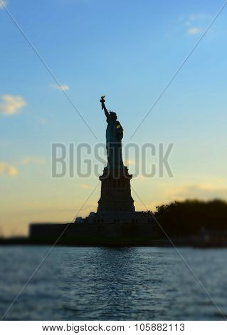 Statue of Liberty Monument at Sunset