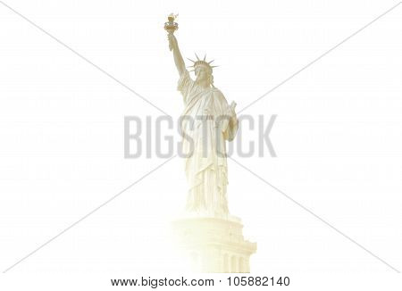 Silhoutte of Statue of Liberty in a white background