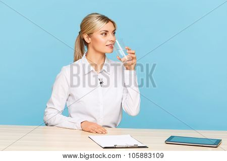 Agreeable TV announcer preparing for broadcasting