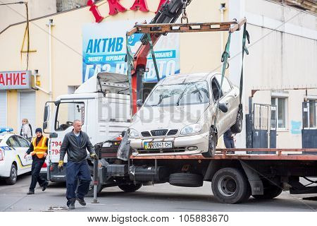 Odessa, Ukraine - October 24, 2015: Car Hauler Picks Up After A Car Accident October 24, 2015 In Ode