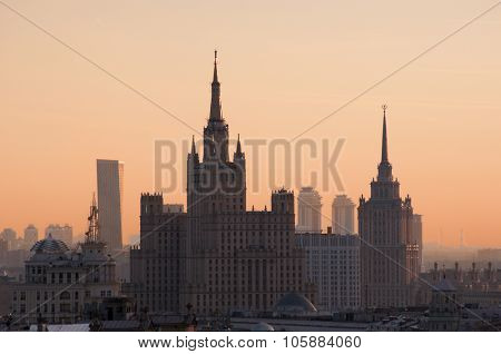 Residential house on Kudrinskaya Square and Ukraine hotel (Stalin skyscrapers) at morning in Moscow