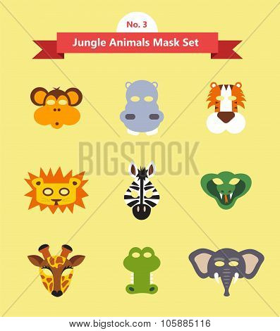 set of animal masks . set 3. jungle animals