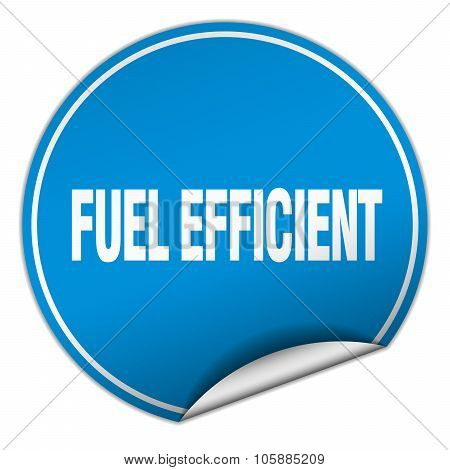 Fuel Efficient Round Blue Sticker Isolated On White