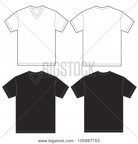 Black White V-neck Shirt Design Template For Men
