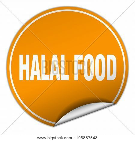 Halal Food Round Orange Sticker Isolated On White