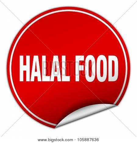 Halal Food Round Red Sticker Isolated On White