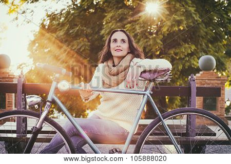 Adult Woman With Vintage Bike