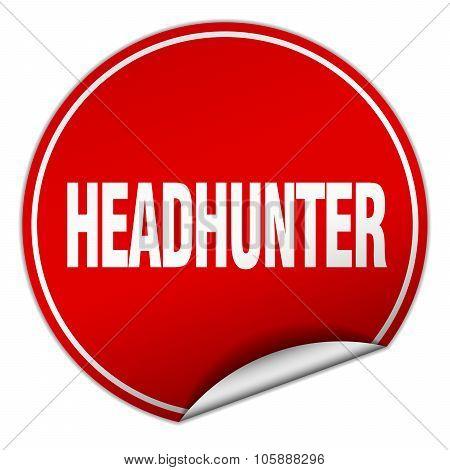 Headhunter Round Red Sticker Isolated On White