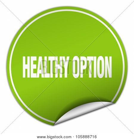 Healthy Option Round Green Sticker Isolated On White