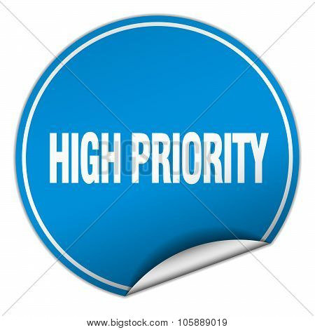 High Priority Round Blue Sticker Isolated On White