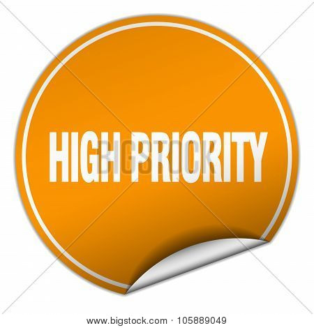 High Priority Round Orange Sticker Isolated On White