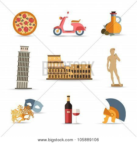 Set of Italy isolated travel colorful flat icons.