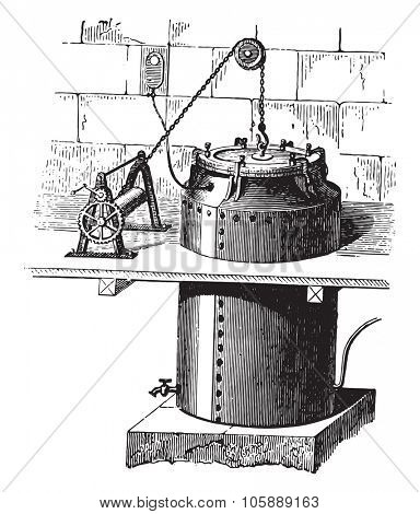 Type a boiler curing, vintage engraved illustration. Industrial encyclopedia E.-O. Lami - 1875.