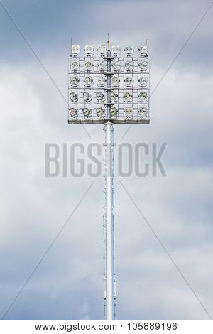 Closeup The Stadium Light With Black Cloudy Sky Before Raining.