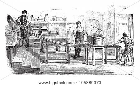 Applicable pasta, vintage engraved illustration. Industrial encyclopedia E.-O. Lami - 1875.