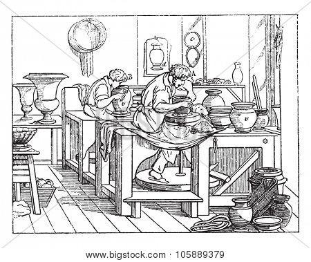Turner or thrower's shop in porcelain work, vintage engraved illustration.