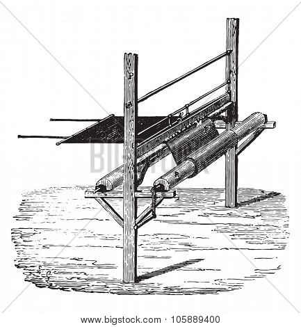 Device to extend the rubber on fabrics, vintage engraved illustration. Industrial encyclopedia E.-O. Lami - 1875.