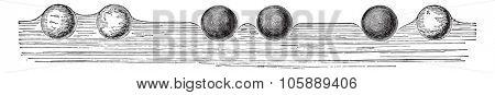 Floating spheres, vintage engraved illustration. Industrial encyclopedia E.-O. Lami - 1875.