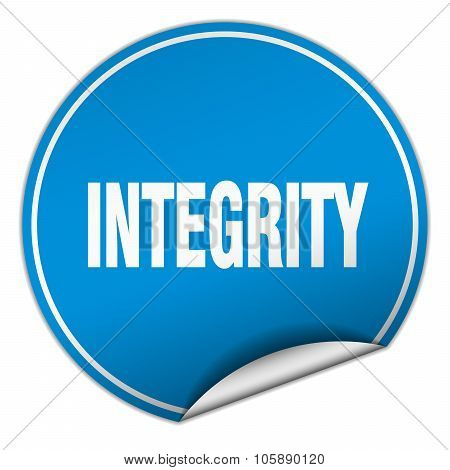 Integrity Round Blue Sticker Isolated On White