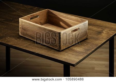 Empty rustic wooden box on the table
