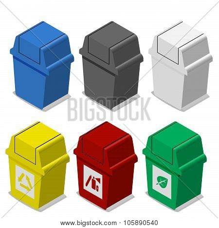 Set Of Isometric Trash Bin With Symbol In Flat Icon Style