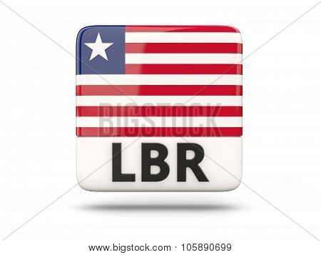 Square Icon With Flag Of Liberia