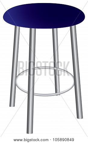 Contemporary Stool With Steel Legs