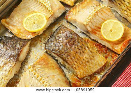 roasted carp fillets in baking tin