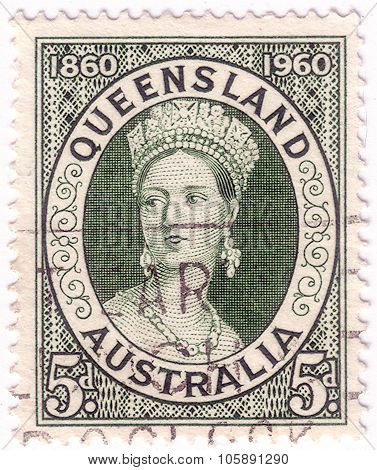 Australia - Circa 1960:a Cancelled Postage Stamp From Australia Illustrating Centenary Of First Quee
