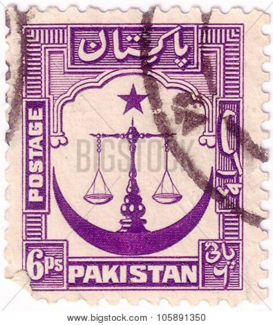 Pakistan - Circa 1948: A Stamp Printed In Pakistan Shows Scales Of Justice With Crescent Moon, Circa