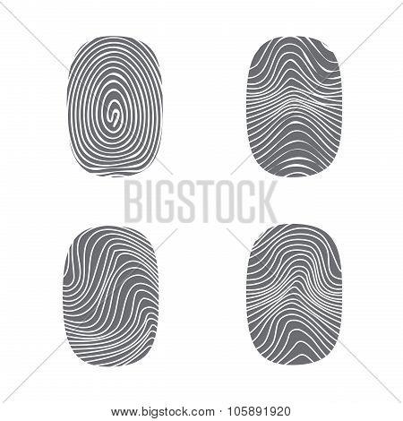 Set Of Fingerprint In Black Silhouette On White