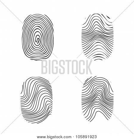 Fingerprint In Black Silhouette On White
