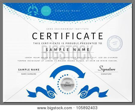 Certificate Border Template with Eco Energy Elements