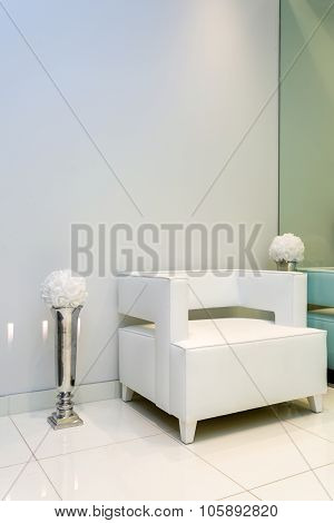 Reception Interior white armchair