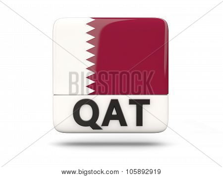 Square Icon With Flag Of Qatar