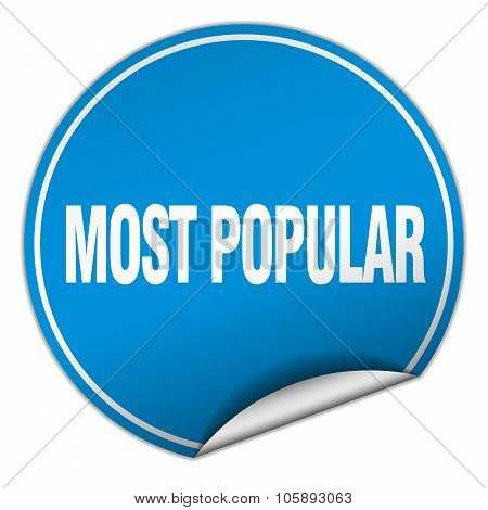 Most Popular Round Blue Sticker Isolated On White