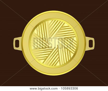 Brass Grill Pan In Korean Style On Wood Table , Isolated Vector