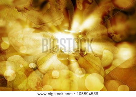 Golden Abstract Romantic Background And Brilliance Of The Diamond
