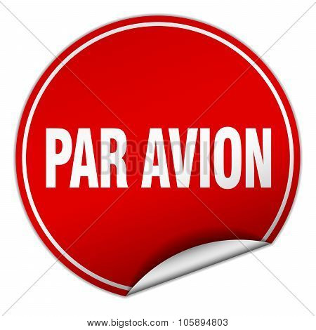 Par Avion Round Red Sticker Isolated On White